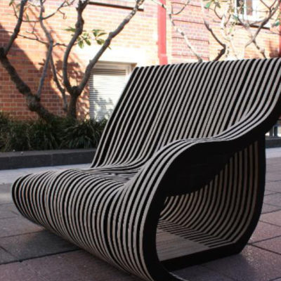 A chair created by QUT furniture design students Kelli Sealy, Jordyn Scott, Hayley Richards, Veronica Harvey and Bridget Porter from the 2017 Furniture Studies Unit.