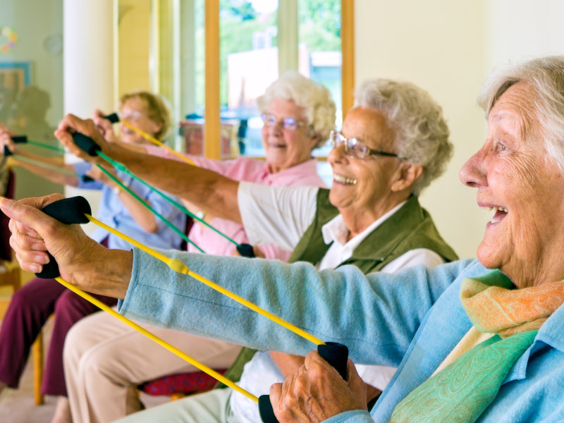 old women exercise stock image